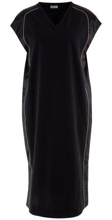 Brunello Cucinelli  - Jerseykleid mit Seidenbesatz schwarz