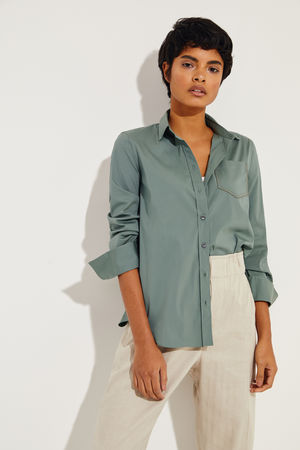 Brunello Cucinelli  - Klassische Bluse mit Perlen-Details Salbei