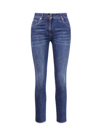Brunello Cucinelli  - Skinny Jeans mit ausgefranstem Saum Blau blau