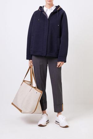 Brunello Cucinelli  - Woll-Jacke mit Perlenverzierung Marineblau