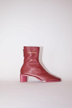 Acne Studios  FN-WN-SHOE000355 Burgundy/burgundy Square toe booties braun