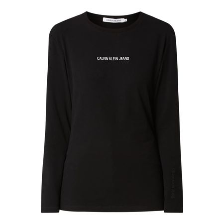 Calvin Klein Longsleeve mit gummiertem Logo-Print schwarz