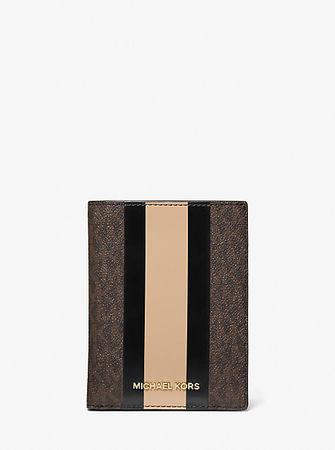 MICHAEL Michael Kors MK Reisebrieftasche Bedford Travel Medium Aus Logostoff Mit Streifen - Black/camel - Michael Kors
