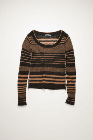 Acne Studios  FN-WN-KNIT000241 Black/camel  Scoop-neck striped sweater grau