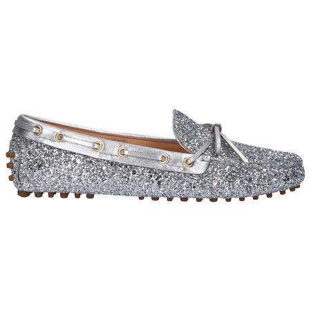 Car Shoe Mokassins KDD006 Glitter Glitzer silber grau