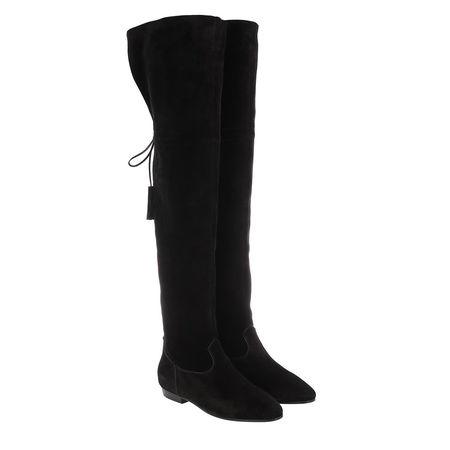 Céline Celine Boots & Stiefeletten - Chat Botté Overknee Flat Boot Suede Calfskin - in schwarz - für Damen schwarz