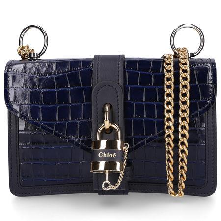 Chloé Handtasche ABY Kalbsleder geprägt Logo nachtblau schwarz