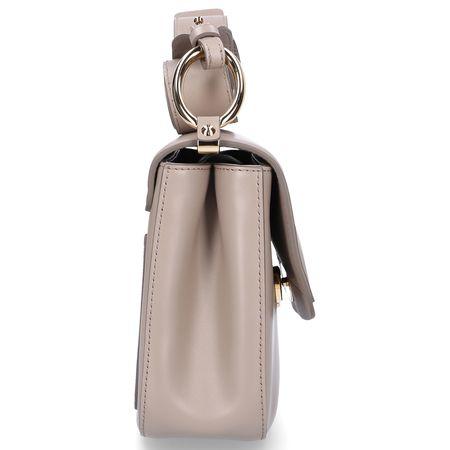 Chloé  Handtasche C DOUBLE Kalbsleder Veloursleder Logo beige braun