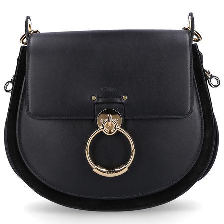 Chloé  Handtasche TESS L Kalbsleder Veloursleder Logo Metallisch schwarz
