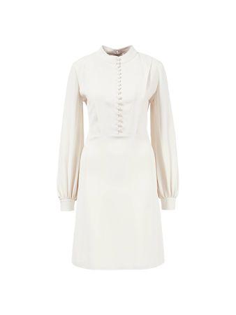 Chloé  - Kleid mit Knopfleiste Creme grau