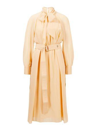 Chloé  - Seidenkleid mit Bindegürtel Delicate Pink orange