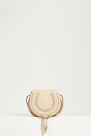 Chloé  - Umhängetasche 'Marcie Saddle Small' Absctract White