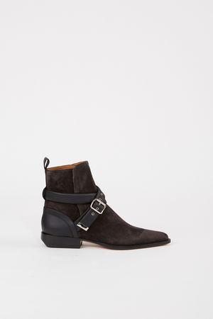 Chloé  - Veloursleder-Ankle-Boots 'Verbania' Anthrazit