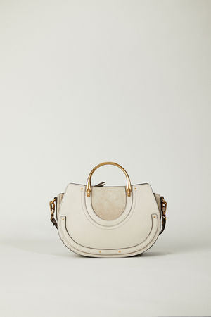 Chloé  - Veloursleder-Schultertasche 'Pixie Medium' Pastel Grey