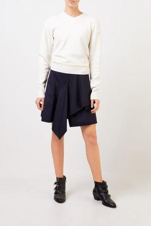 Chloé  - Woll-Cashmere-Pullover mit V-Neck Soft White