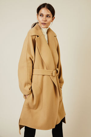Chloé  - Woll-Mantel mit Bindeelement Barley Brown