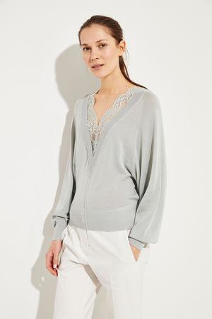 Chloé  - Woll-Seiden-Pullover mit Spitzeneinsatz Bleached Grey