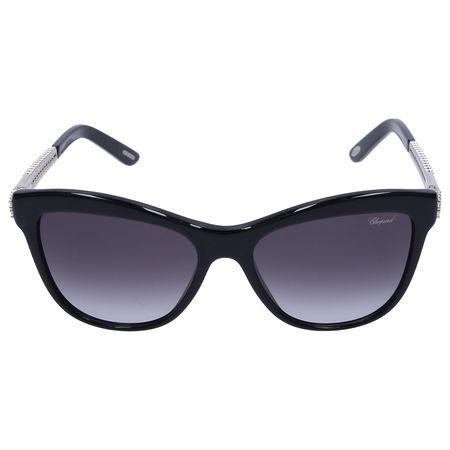 Chopard Sonnenbrille Oversized B189S 0700 Metal Acetat Schmuckstein schwarz grau
