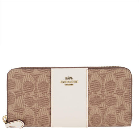 Coach  Portemonnaie  -  Colorblock Canvas Signature Slim Wallet Tan Chalk  - in braun  -  Portemonnaie für Damen braun