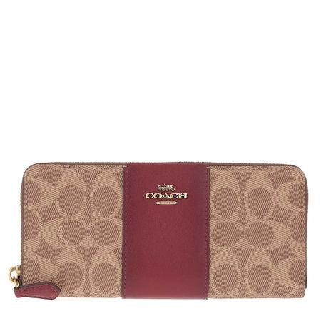 Coach  Portemonnaie  -  Colorblock Signature Slim Accordion Zip Wallet Tan Deep Red  - in braun  -  Portemonnaie für Damen braun