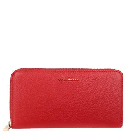 COCCINELLE  Portemonnaie  -  Metallic Soft Wallet Polish Red  - in rot  -  Portemonnaie für Damen rot