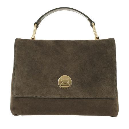 COCCINELLE  Satchel Bag  -  Liya Suede Crossbody Bag Evergreen  - in grün  -  Satchel Bag für Damen braun