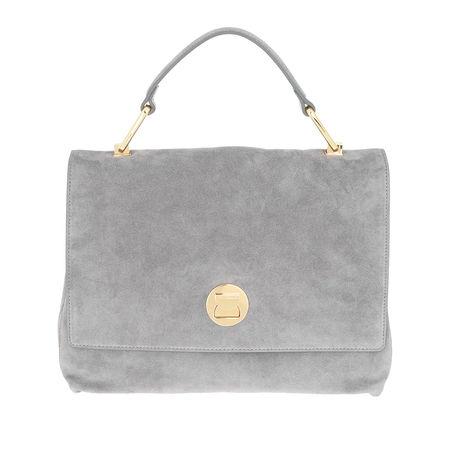 COCCINELLE  Satchel Bag  -  Liya Suede Crossbody Bag Glass  - in grau  -  Satchel Bag für Damen grau