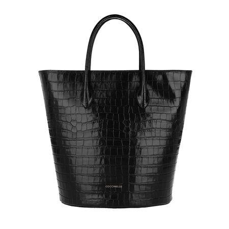 COCCINELLE  Tote - Handbag Croco Shiny Soft Leather - in schwarz - für Damen schwarz