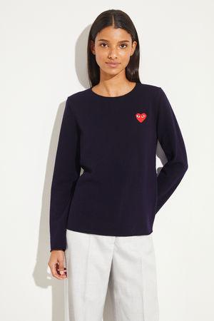 Comme des Garçons Comme des Garcons Play - Woll-Pullover mit Herz-Emblem Marineblau