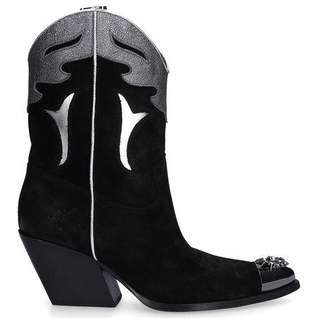 Cowboystiefel E2169 Veloursleder Metallisch Strass schwarz schwarz