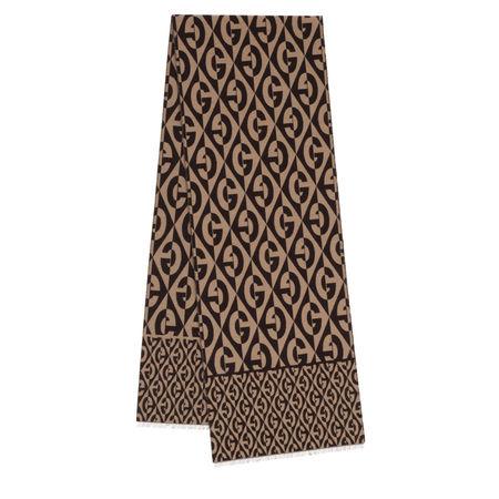 Gucci  Accessoire  -  G Rhombus Wool Scarf Beige/Dark Brown  - in braun  -  Accessoire für Damen braun