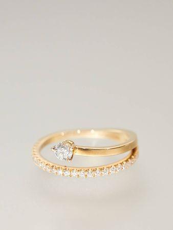 Delfina Delettrez  - Diamantring 'Marry Me' Gold braun