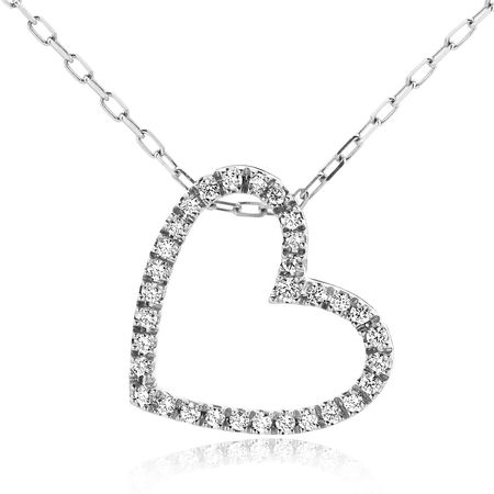 Diamada  Halskette  -  0.17ct Diamond Heart Pendant  18KT White Gold  - in weißgold  -  Halskette für Damen grau