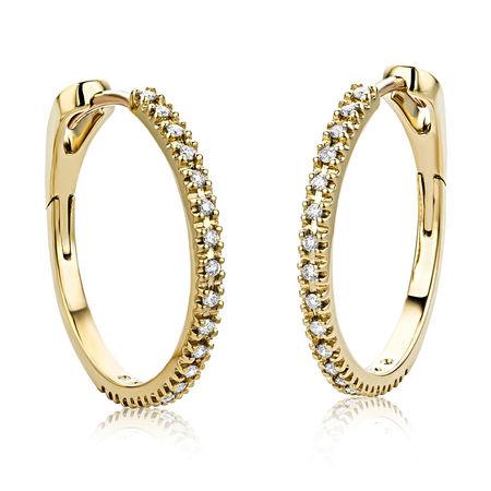 Diamada  Ohrringe  -  0.18ct Diamond Creole Earring  18KT Yellow Gold  - in gelbgold  -  Ohrringe für Damen orange
