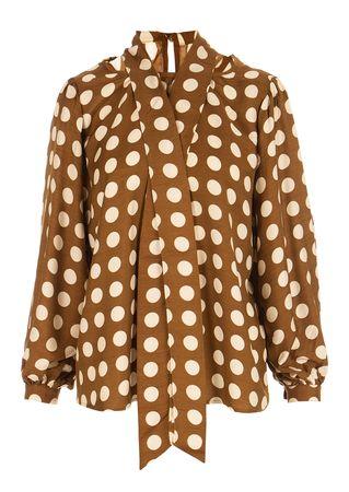 Diega Bluse aus Viskose-Seiden-Mix braun