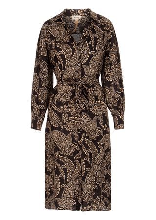 Diega Blusenkleid aus Viskose-Seiden-Mix braun