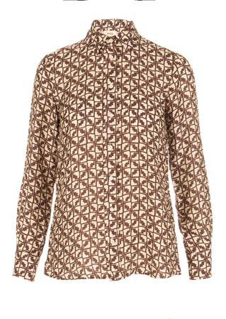 Diega Print-Bluse aus Viskose-Seiden-Mix braun