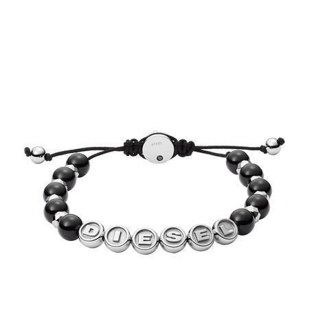 Diesel  Armbänder - Stainless Steel Semi-Precious Beaded Bracelet - in schwarz - für Damen grau
