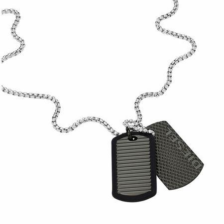 Diesel  Halsketten - Men's Stainless Steel Dog Tag Necklace DX1314040 - in silver - für Damen