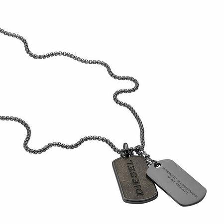 Diesel  Halsketten - Stainless Steel Double Dogtag Necklace - in grau - für Damen grau
