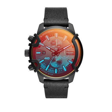 Diesel  Uhr  -  Griffed Chronograph Leather Watch Black  - in schwarz  -  Uhr für Damen
