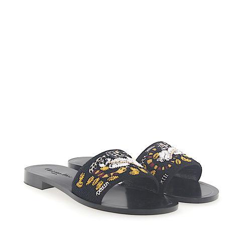 Dior Sandalen Kalbsleder  Textil Stickerei mehrfarbig schwarz grau