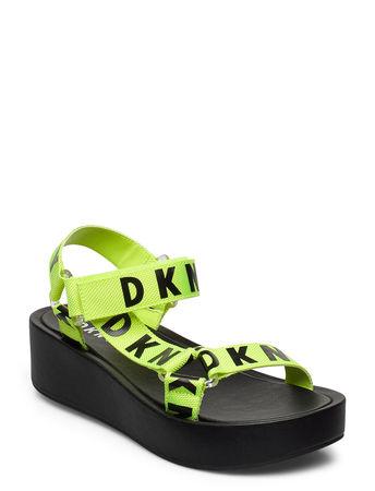 DKNY Ayli Flache Sandalen Grün  schwarz