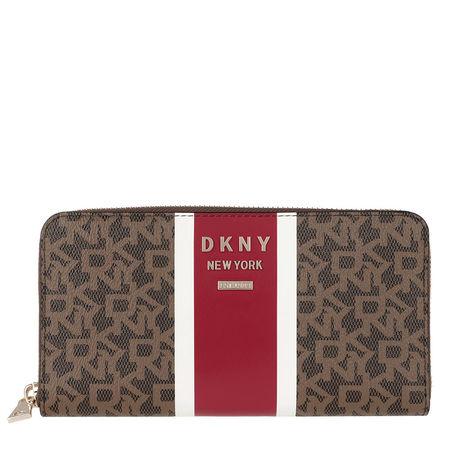 DKNY  Portemonnaie  -  Whitney Zip Around Bag Mocha Logo Bright Red  - in braun  -  Portemonnaie für Damen pink