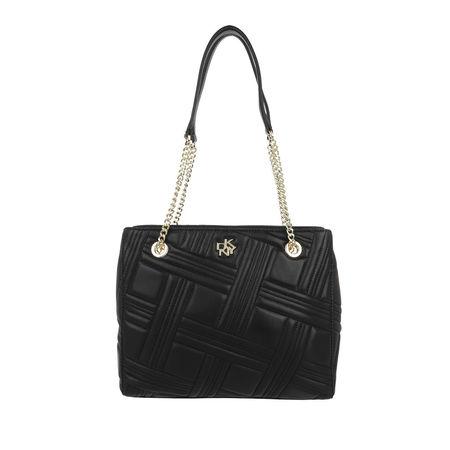DKNY  Tote - Alice Small Double Zip Tote Leather Black Gold - in schwarz - für Damen