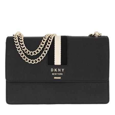 DKNY  Umhängetasche  -  Liza Flap Shoulder Bag Medium Black Gold  - in schwarz  -  Umhängetasche für Damen grau