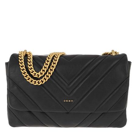 DKNY  Umhängetasche  -  Vivian Double Shoulder Bag Black Gold  - in schwarz  -  Umhängetasche für Damen grau