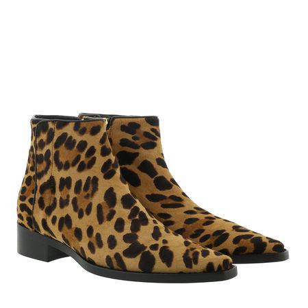 Dolce&Gabbana  Boots  -  Animal Print Ankle Boots Leather Leo  - in braun  -  Boots für Damen braun