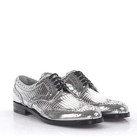 Dolce&Gabbana Dolce & Gabbana Halbschuhe Leder silber metallic Lyra-Lochung grau