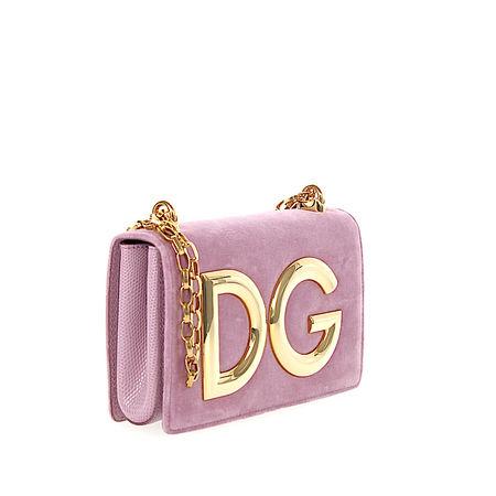 Dolce&Gabbana Dolce & Gabbana Handtasche Abendtasche DG GIRLS Logo Samt rosa rosa